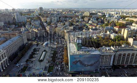 Kiev, Ukraine, October 13, 2017. Aerial view of  Maidan Nezalezhnosti (Independence Square) at autumn
