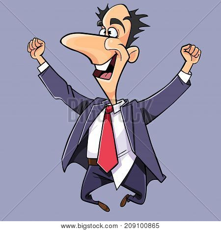 cartoon man in a suit and tie jumped up and rejoices