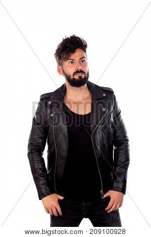 Hard guy with black leather jacket isolated on a white background