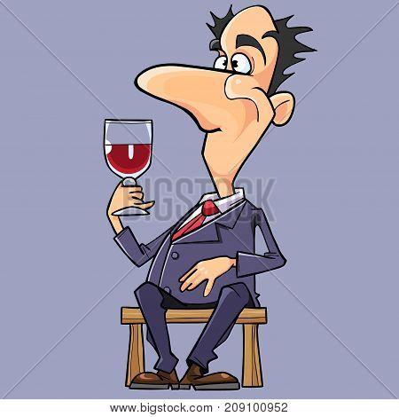 cartoon man in a suit and tie wine tasting