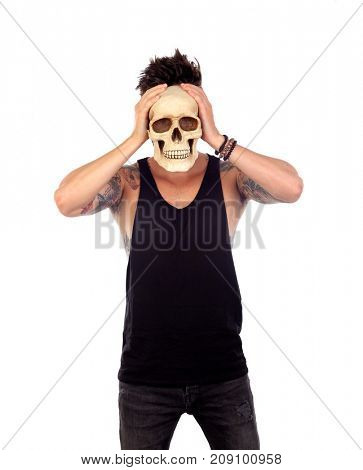 Dark guy with a human skull isolated on a white background