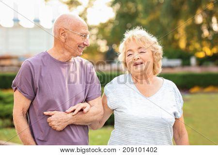 Cute elderly couple walking in park