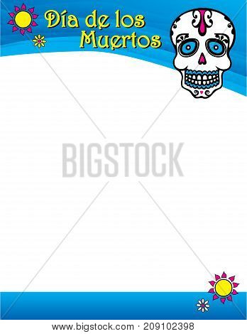 Day of the Dead Spanish Poster Skull Graphic