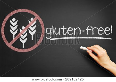 Symbol for gluten-free food on blackboard