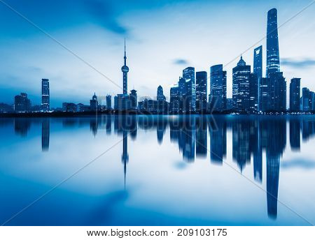 the bund skyline with the oriental pearl tower,shanghai