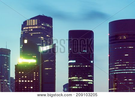 high section of modern skyscrapers against sky, shanghai,china.