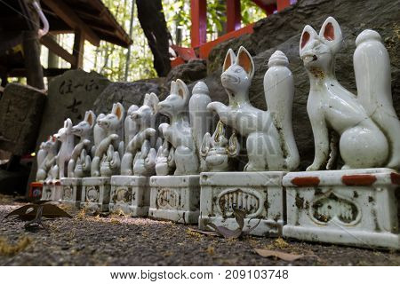 Kyoto, Japan - May 20, 2017: Traditional Kitsune, animal guardians close up in front of an Inari Shrine in Kyoto