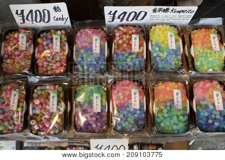 Kyoto, Japan - May 19, 2017: Trays with multi colored variety of candy in the shop
