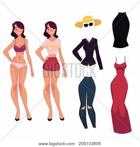 Pretty young woman, girl in lingerie, red evening dress, jeans, jacket, sunglasses and skirt, cartoon vector illustration isolated on white background. Young woman, girl and her fashion clothes