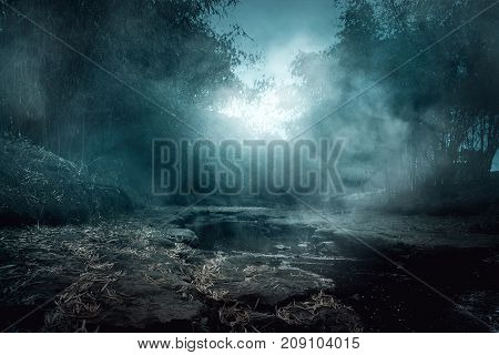 Scenery of creepy river with smoke at night