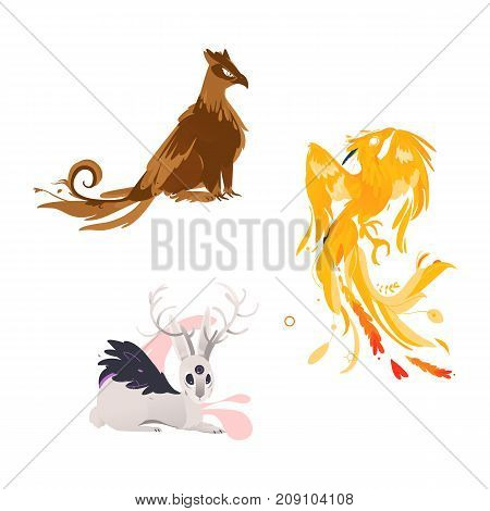 vector flat cartoon mythical animals set. Three eye hare with horns, griffin fairy fictional creature with eagle wings, feathering and phoenix. Isolated illustration on a white background.