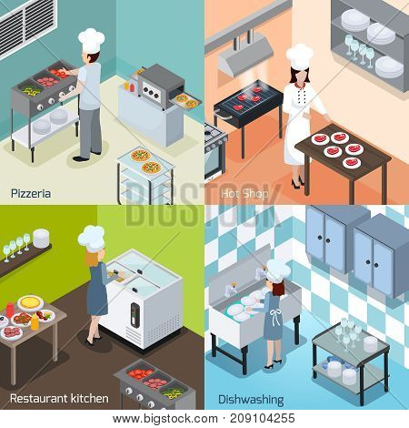 Commercial pizzeria and restaurant kitchen interior  equipment appliances 4 isometric icons square with dishwashing facility isolated vector illustration