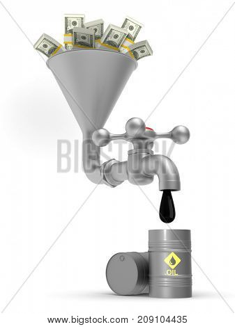 concept oil production on white background. Isolated 3D illustration