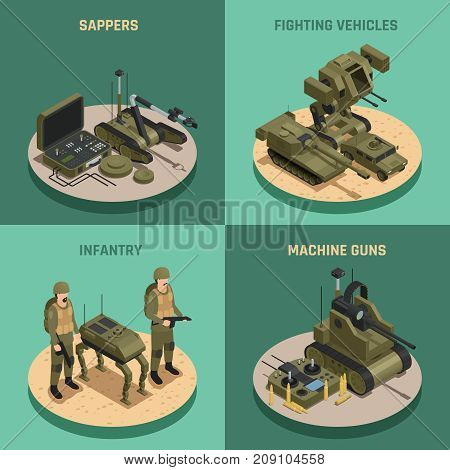 Fighting robots 2x2 design concept set of  infantry sappers fighting vehicles and machine guns square compositions isometric vector illustration