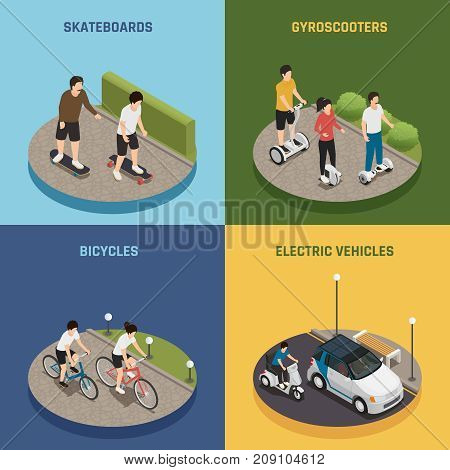 Personal eco transportation 2x2 design concept set of people riding skateboards bicycles gyro scooters electric vehicles square icons isometric vector illustration