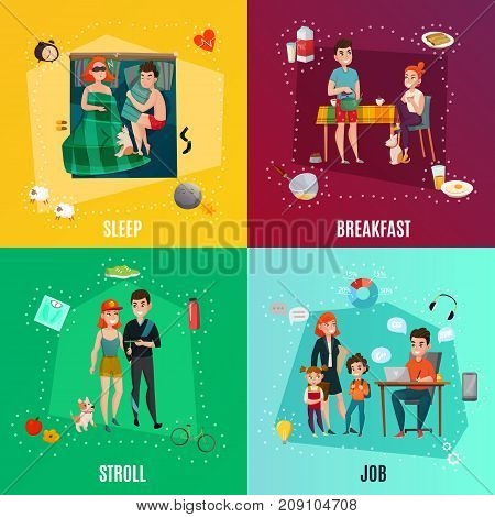 Couple in daily routine design concept including sleep, breakfast, stroll, job, infographic elements isolated vector illustration