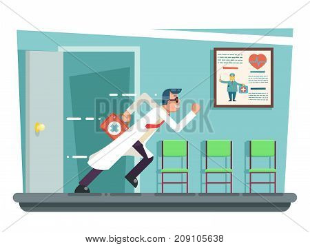 Doctor running out consulting door room hurry medical clinic cartoon character flat design vector illustration