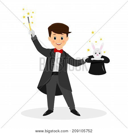 Magician with hat and magic wand.White rabbite. Isolated on white background. Cartoon style. Vector illustration