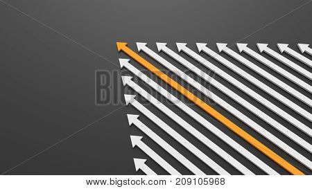 Leadership, Success, And Teamwork Concept, Orange Leader Arrow Leading White Arrows, On Black Backgr