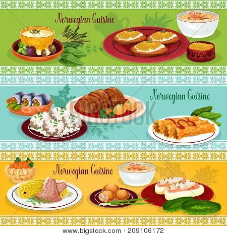 Norwegian cuisine seafood lunch restaurant banner set. Fish and mushroom cream soup, salmon potato pie, meat cabbage stew, herring roll, pike roe toast, stuffed cucumber with fish, sugar waffle roll