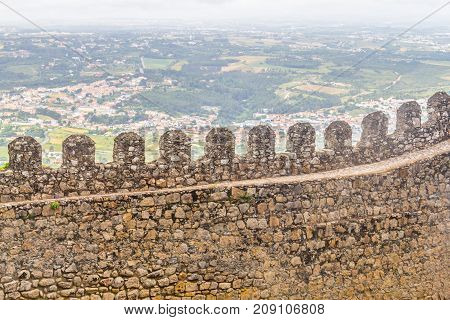 Rock Wall In Castle Of The Moors And Sintra Cityview