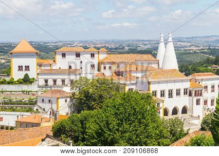 Palace Of Sintra, Sintra City View And Vegetation