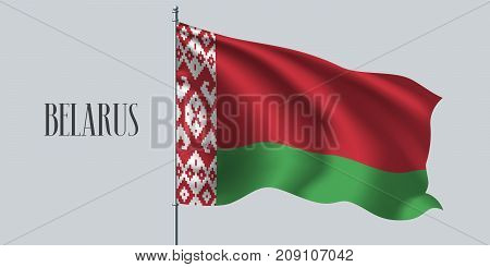 Belarus waving flag on flagpole vector illustration. Three colors element of Belarusian wavy realistic flag as a symbol of country
