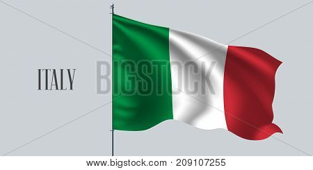 Italy waving flag on flagpole vector illustration. Three colors element of Italian wavy realistic flag as a symbol of country