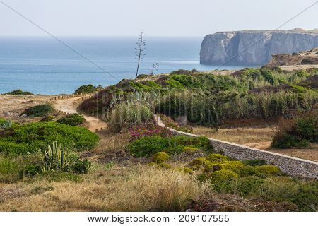 Cliffs, Ocean And Trail In Sagres