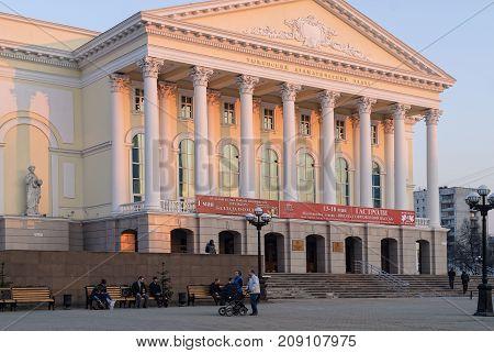 Tyumen Russia - April 22 2010: Tyumen dramatic theater on sunset