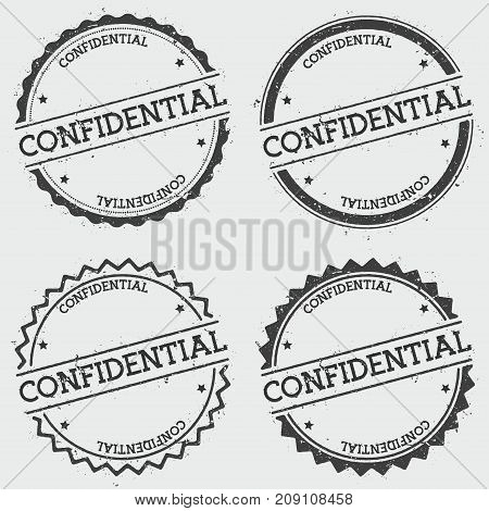 Confidential Insignia Stamp Isolated On White Background. Grunge Round Hipster Seal With Text, Ink T