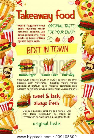 Fast food burger and drink banner for restaurant menu template. Hamburger, hot dog, fries, pizza, cheeseburger, soda and coffee cup, ice cream, taco, popcorn and fried onion ring snack poster design