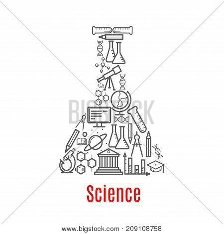 Chemical flask with science vector icon of microscope, atom, DNA, laboratory test tube, molecule, graph, book, pencil, computer, planet, telescope, university and graduation cap for education design