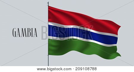 Gambia waving flag on flagpole vector illustration. Three colors element of Gambian wavy realistic flag as a symbol of country