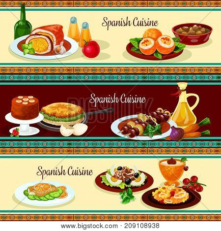 Spanish cuisine dinner with dessert restaurant banner set. Seafood rice paella, grilled meat and fish, vegetable omelette, egg stuffed with sausage, tuna salad with olive, stuffed pork, cream dessert