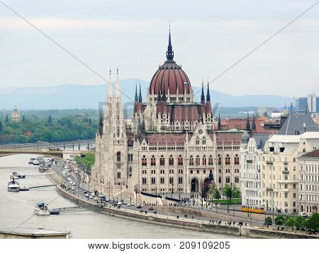 aerial view of Budapest the capital city of Hungary