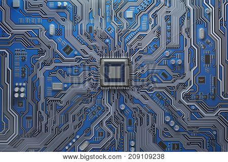 Computer motherboard with CPU. Circuit board system chip with core processor. Computer technology background. 3d illustration