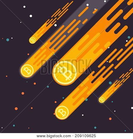 Bitcoin Crypto currency growth is a drop in the digital currency. Bitcoin Lift the concept in a flat style. The rate of bitcoin earnings is mining. Vector illustration.