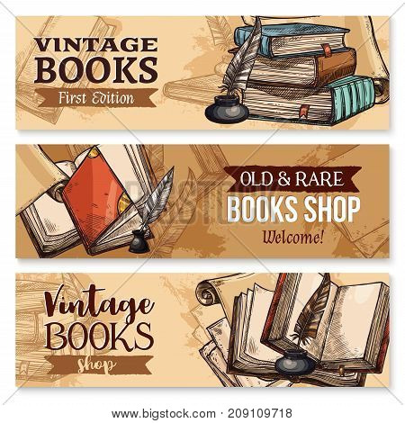 Old book with feather pen and inkwell sketch banner set. Vintage book, antique paper document or manuscript with ancient quill pen, inkpot and bookmark poster for education theme or book shop design