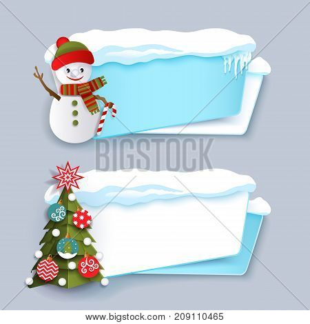 Two winter banner with Christmas tree, snowman, ice and snow, flat cartoon vector illustration isolated on grey background. Two Christmas banner templates with funny snowman and decorated Xmas tree