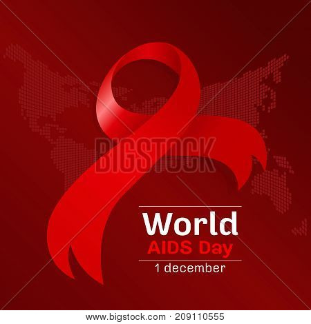 world aids day with red ribbon sign on dot world map background vector design