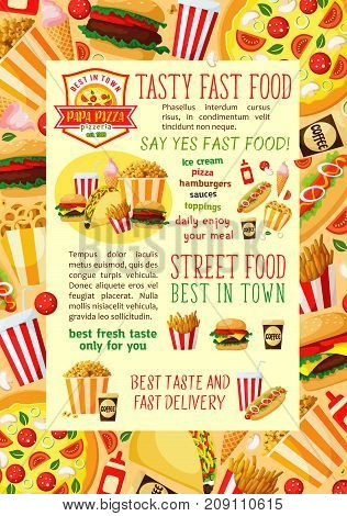 Fast food restaurant lunch dishes banner template. Fastfood hamburger, hot dog, soda, french fries, coffee, pizza, cheeseburger, ice cream, popcorn, onion rings and taco with ingredients vector poster