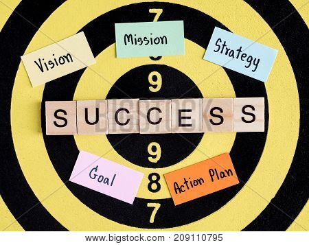 Wooden word Success Vision Mission Goal Strategy Action Plan on dart board (Business Concept)