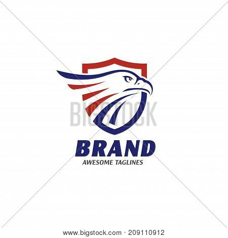 eagle heads with shields logo, creative falcon head logotype with shield, eagle head illustration