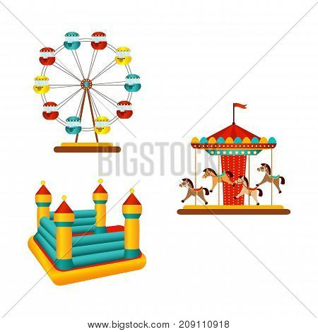 vector flat amusement park objects icon set. Merry go round, Funfair carnival vintage flying horse carousel, inflatable bouncy castle and Ferris wheel. Isolated illustration on a white background.