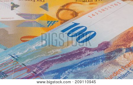 Close Up Picture Of Swiss Franc.