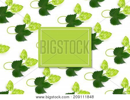 vector poster, banner or placard with lager beer hop leaves pattern, square template. Ready for your design mockup. Isolated illustration on a white background.