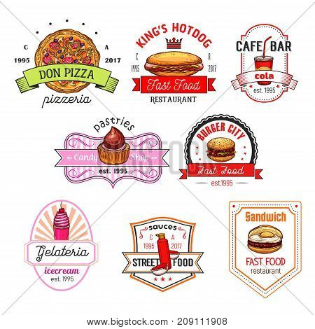 Fast food restaurant, pizzeria, pastry shop and ice cream cafe badge set. Fastfood hamburger, hot dog, pizza, cake, soda drink, egg sandwich and ice cream dessert for emblem design