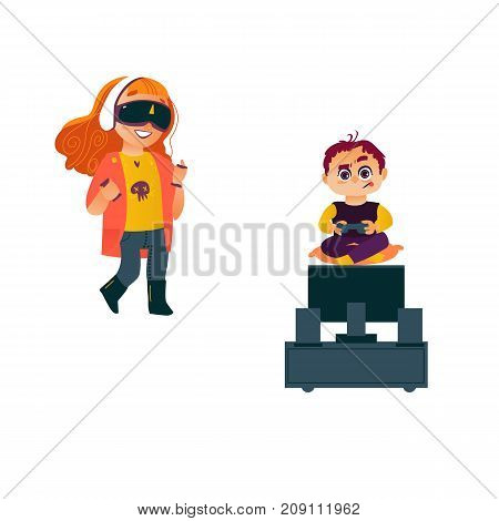 vector flat cartoon teen boy playing video console game by joystick sitting near tv panel stand, kid girl using vitrual reality glasses. Isolated illustration on a white background.
