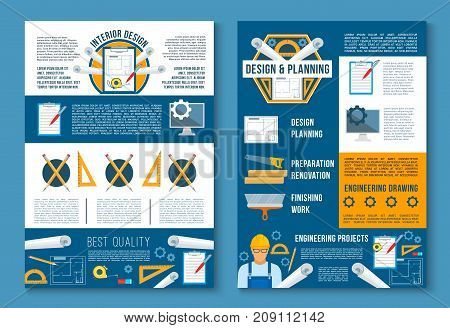 Building construction, interior design and planning poster template set. Architect with engineering drawing of house renovation, plan of finishing works and drawing tool for architecture banner design